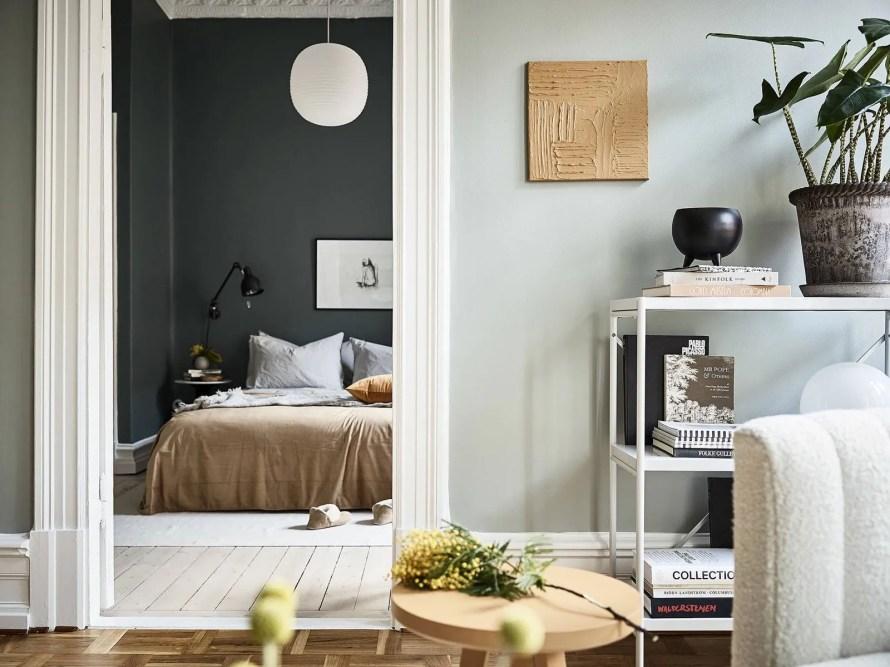 dark green bedroom calm cozy scandinavian