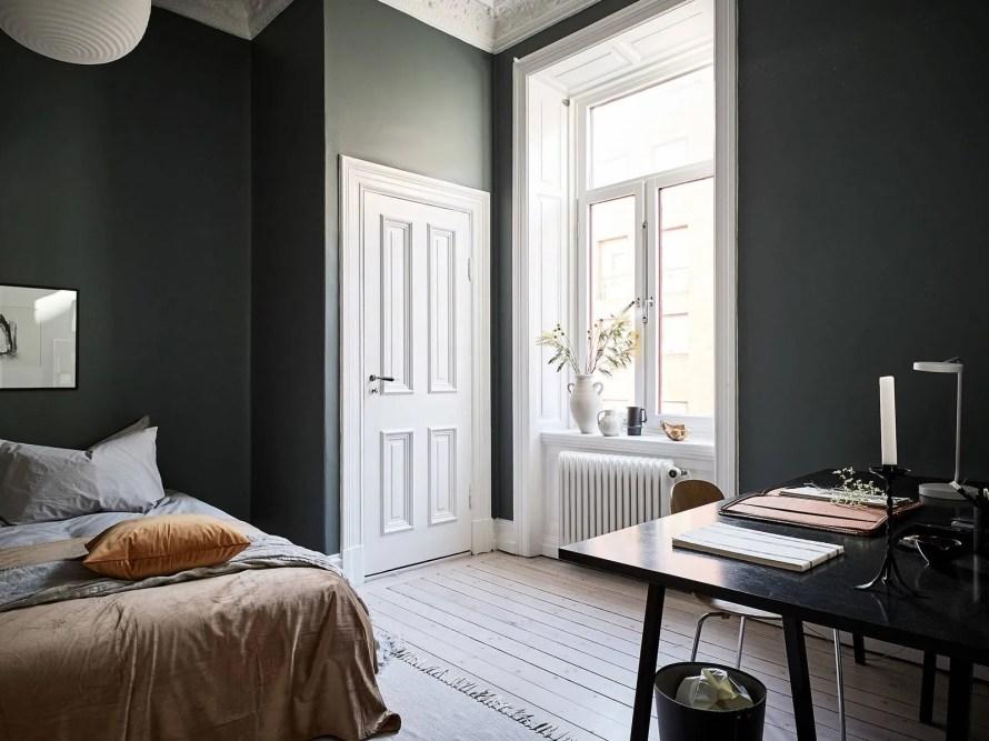 dark green bedroom window calm cozy scandinavian