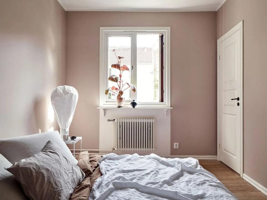 dusky pink bedroom calm cozy scandinavian