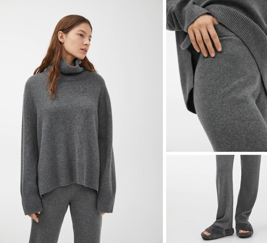 arket loungewear grey cashmere outfit