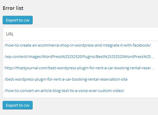 404 Error Monitor Error list