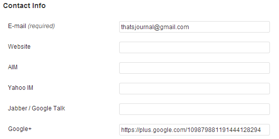 Add Google+ profile URL under Contact info section