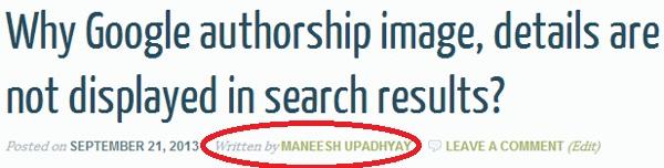 Written by byline of blog