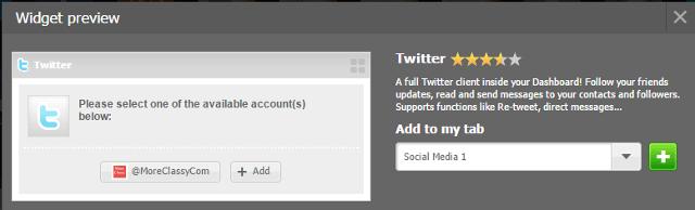 Add a Twitter widget in NetVibes