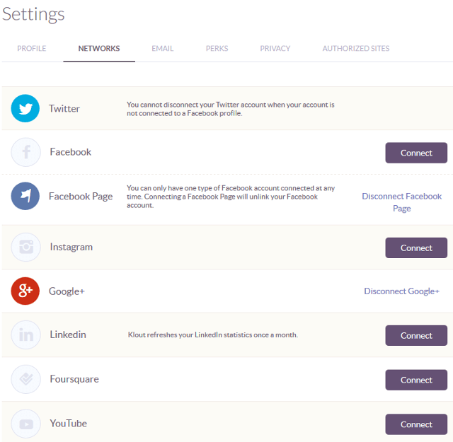 Add social networking accounts in Klout