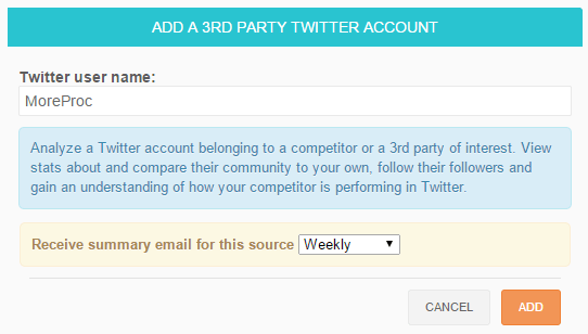 Analyze a third party Twitter account in SocialBro