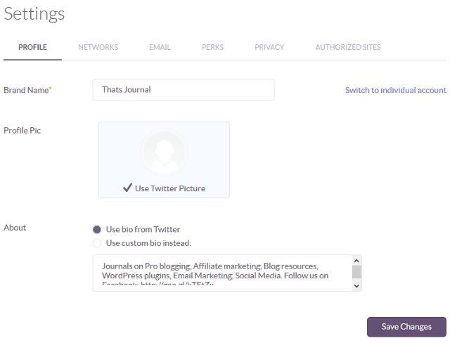 Change basic profile settings in Klout