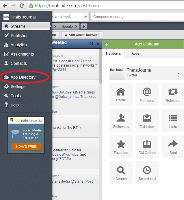 Click on App Directory in left menu in HootSuite dashboard
