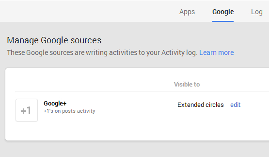Click on Apps menu in Manage Google sources page