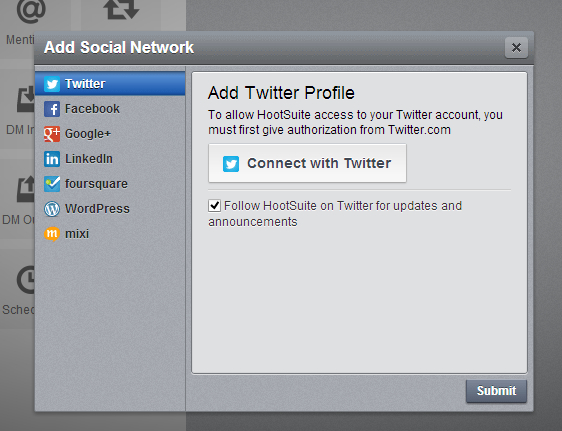 Click on Connect with Twitter button in Hootsuite