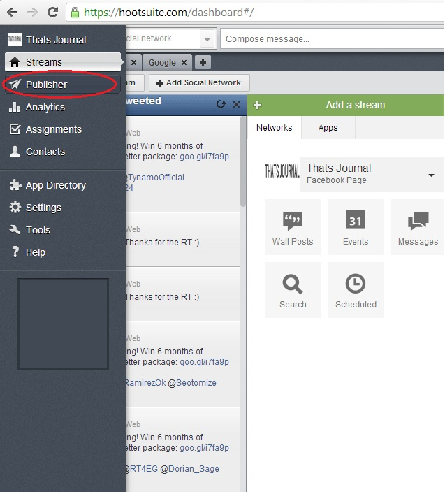 Click on Publisher menu in HootSuite dashboard