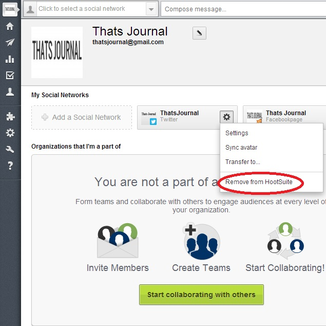 Click on Remove from Hootsuite button