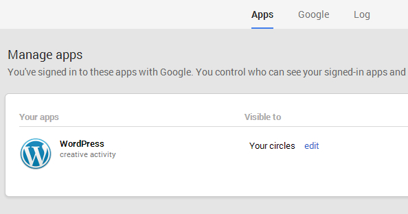 Click on edit under Visible to in Manage Apps page in Google+