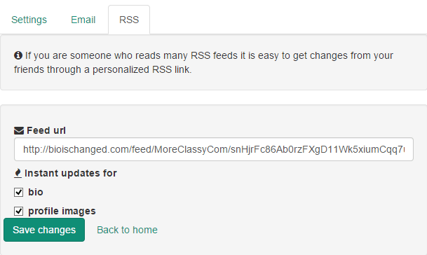Create RSS feed to view changes in Twitter bio, profile image