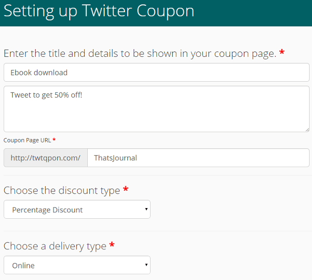 Create Twitter, tweet coupons using TwtQpon