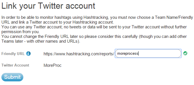 Create a freindly URL, authorize Twitter account in Hashtracking