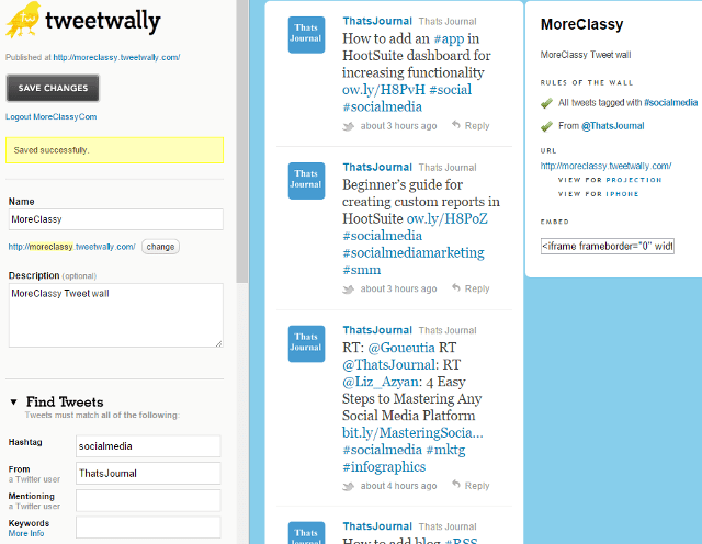 Create tweet wall, organize tweets by hashtag using TweetWally