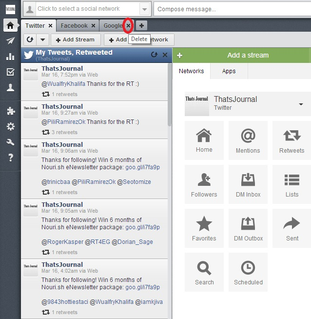 Delete a tab in Hootsuite dashboard