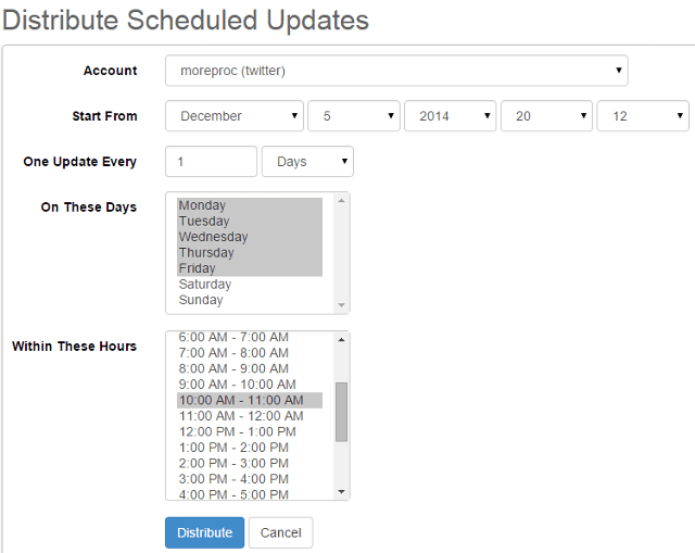 Distribute scheduled posts in SocialOomph