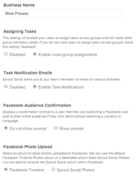 Edit business settings in Sprout Social