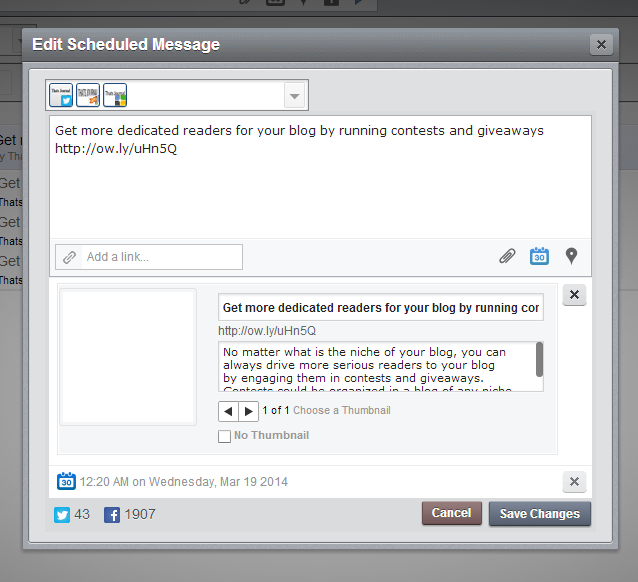 Edit scheduled message in HootSuite dashboard