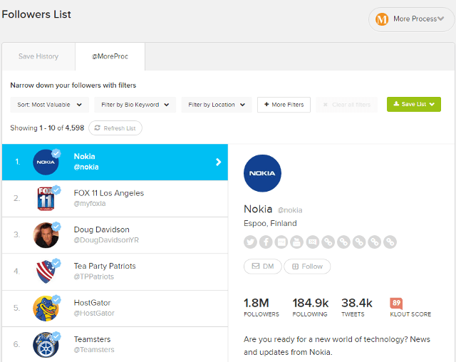Filter your Twitter followers based on different sorting options in SocialRank