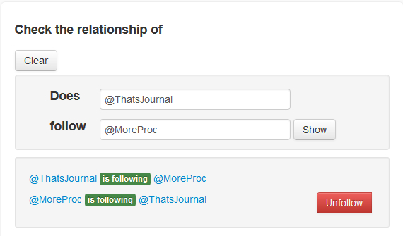 Find relationship between two Twitter accounts in JustUnfollow