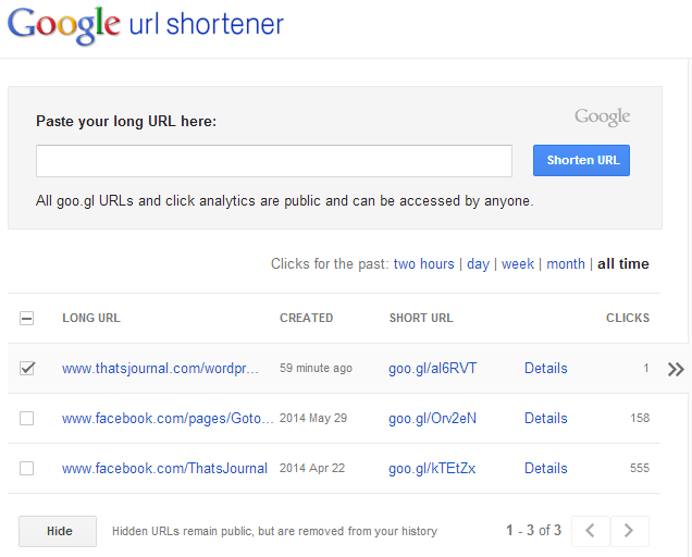 Hide URLs in Goo.gl URL shortener