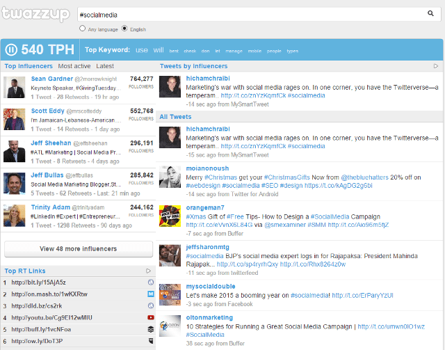 Monitor Twitter hashtags, keywords in real-time using Twazzup