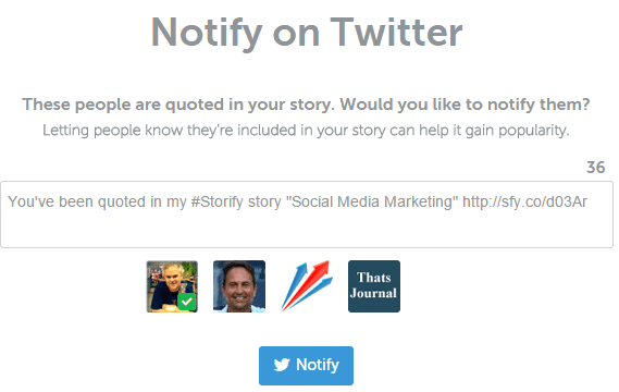 Notify mentioned users in Storify