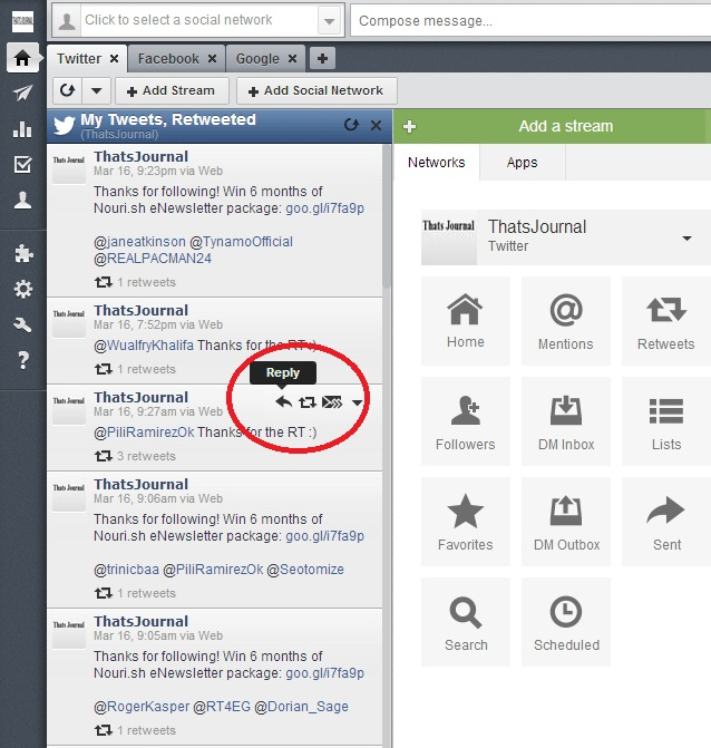 Options for Retweets stream for Twitter in Hootsuite