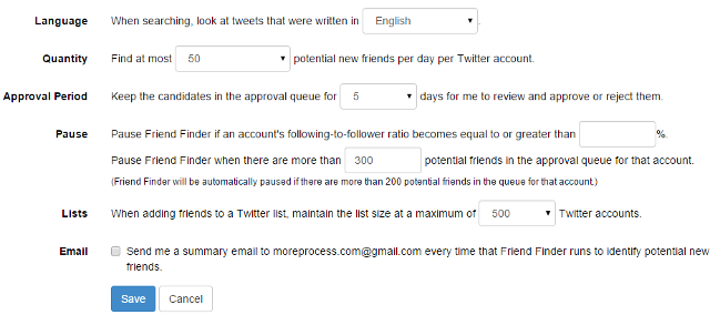 Options for finding relevant friends in Twitter using SocialOomph