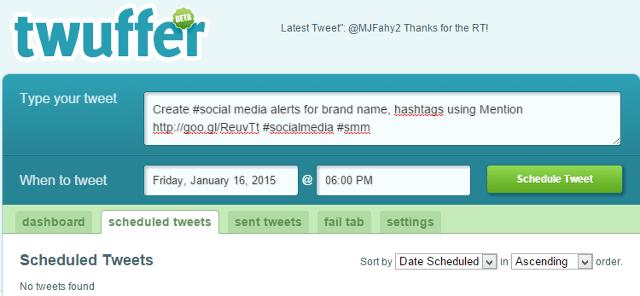 Schedule tweets in Twitter using Twuffer
