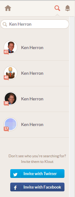 Search a member in Klout