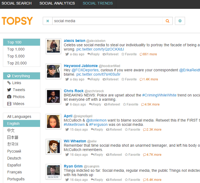 Search top social trends using keywords in Topsy