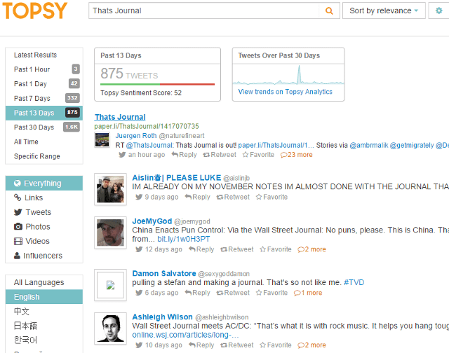 Search tweets by date range, language, content type using Topsy