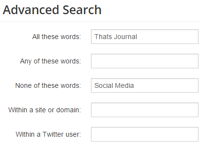 Search tweets containing term A but not B in Topsy