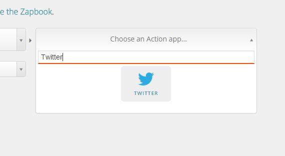 Select an action app in Zapier