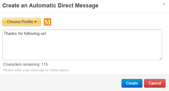 Set up Twitter auto direct message in MarketMeSuite