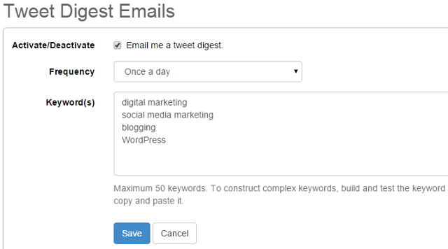 Tweet digest notification emails in SocialOomph
