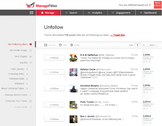 Unfollow Twitter followers based on criteria using ManageFlitter