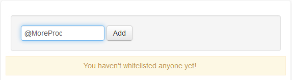 Whitelist section in JustUnfollow, free Twitter unfollowers manager