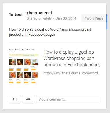 WordPress post shared privately by using Jetpack in Google+