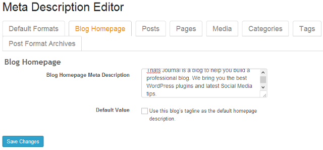 Add homepage meta description in SEO Ultimate WordPress plugin