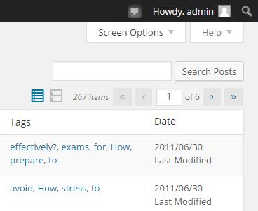 Click on pull down tab Screen Options in WordPress