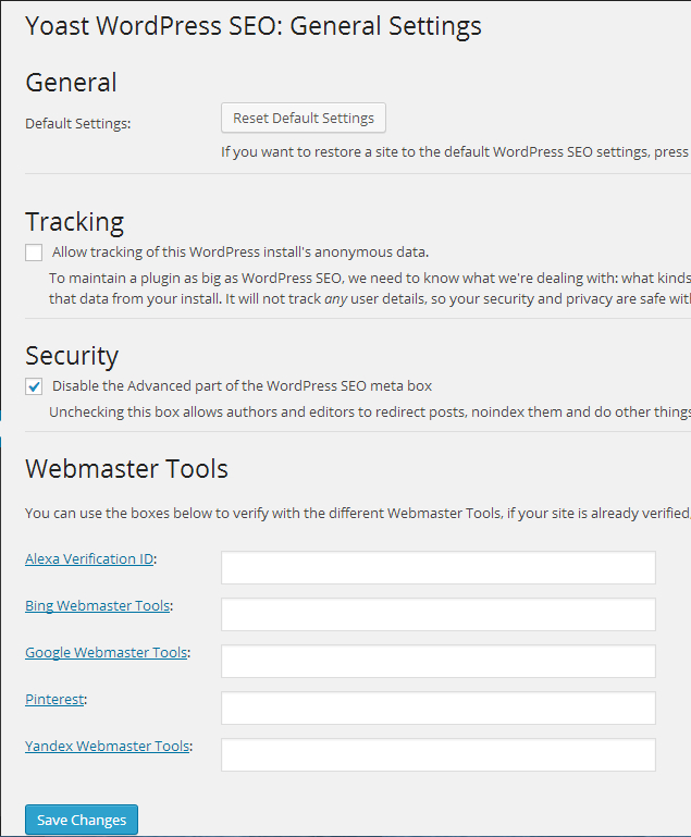 General SEO settings for WordPress SEO by Yoast plugin