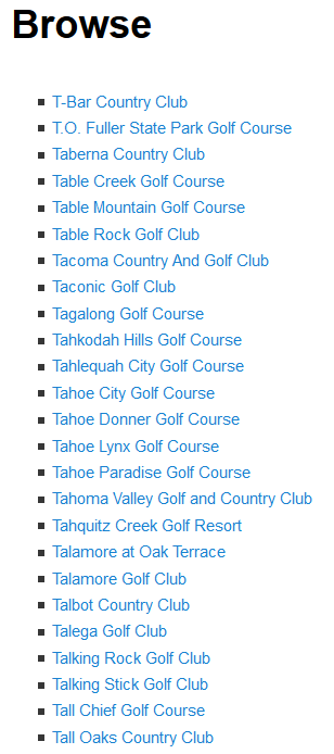 Golf course listings are displayed alphabetically in your blog