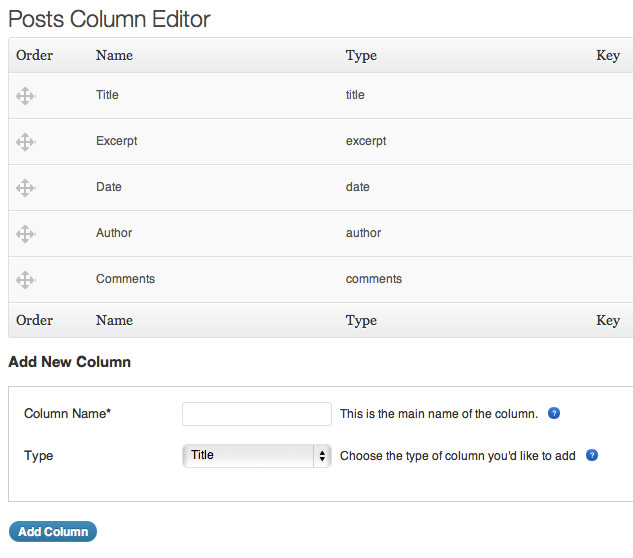 Add, Delete Dashboard Columns For Posts, Pages In WordPress