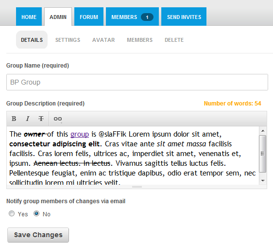 Enable Text Editor In Group Description Field In BuddyPress