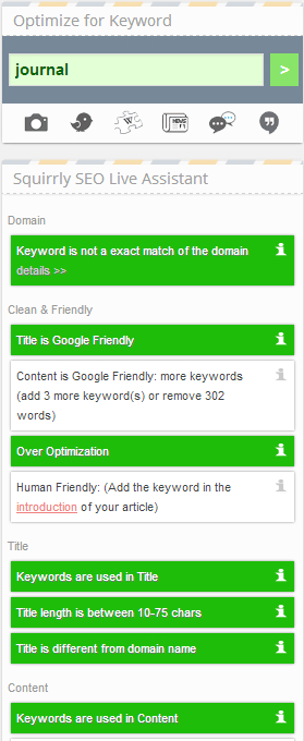 Keyword research in Squirrly SEO Live Assistant